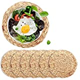 6 Pcs Woven Placemats,Weave Placemat Round Braided Rattan Tablemats (Water Hyacinth, 11.8)