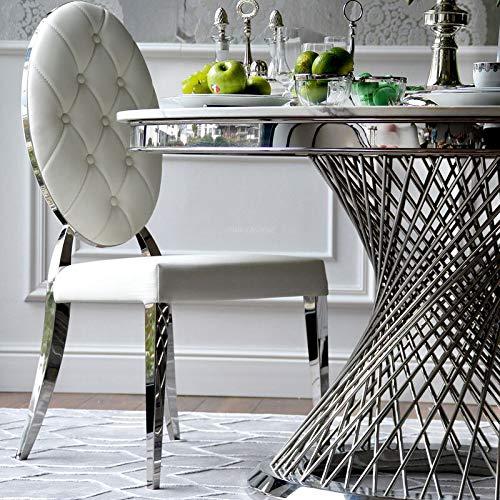Sedia da pranzo Glamour, acciaio inossidabile, MEDAGLIONE bianco
