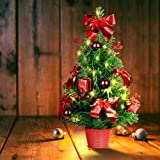 SHareconn 20 Inch Artificial Tabletop Mini Christmas Tree, Small Xmas Tree with Pre-Lights...