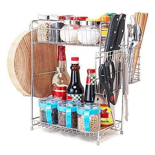 ENCOFT Porta Spezie Organizzatore 2 Piani Mobiletto per Spezie Portaspezie da cucina Mensola portaspezie espandibile per una cucina sempre ordinata