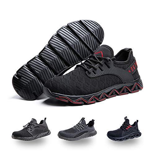 Zapatos de Seguridad Hombre Mujer Trabajo Ligeras Calzado de Seguridad Deportivo Comodo con Punta de Acero C Rojo 42 EU