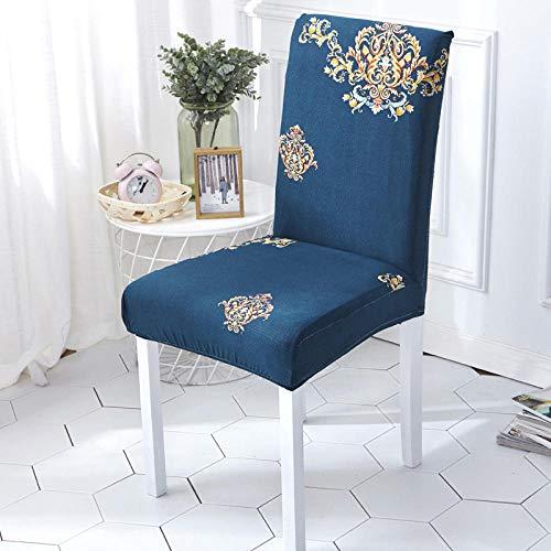 Fundas para sillas Flor Azul Oscuro Spandex Fundas sillas Comedor Lavable Extraíble Funda Muy fácil de Limpiar Duradera Modern Bouquet de la Boda Hotel Decor Restaurante 8/Piezas