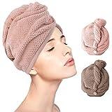 Turbante Asciugamano 2 Pezzi Asciugamano Asciugamano Quadrato Asciugatura Rapida Assorbimento Acqua Asciugatura Capelli Cottone Femmina Cuffia Doccia