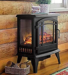Plow & Hearth Portable Indoor Home Compact Electric Panoramic Quartz Infrared Heater 5000 BTU, Black