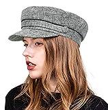 ColorSun Women's Newsboy Caps Newsboy Hats for Women Cabbie Fiddler Octagonal Paperboy Hat Grey