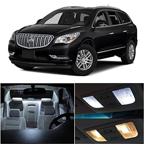 cciyu 12 Pack White LED Bulb LED Interior Lights Accessories Replacement Package Kit Replacement fit for 2008-2016 For Buick Enclave