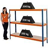 Certeo scaffale per carichi pesanti   150x180x45 cm   300 kg per ripiano   Profondità 45 cm   Scaffale metallico scaffale industriale scaffale per l'officina scaffale per il garage