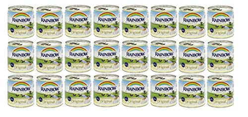 Rainbow Evaporated Milk Full Cream Sterilized 6oz. 170gm each 24 Cans حليب أبو قوس مبخر كامل الدسم افضل صديق للشاي