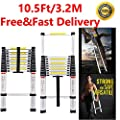 EN131 Telescoping 5M A-Typ Ladder Decoration Portable Aluminum Telescopic Extension Tall Multi Purpose with Spring Load Locking Mechanism Non-Slip for Home Loft Office 330LB Capacity