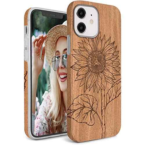 Lapac Wood Sunflower Case Designed for iPhone 12 Case/iPhone 12 Pro Case 6.1 Inch 2020, Anti-Yellow Anti-Scratch, Shockproof Full-Body Protective Cover for iPhone 12, Wood Grain