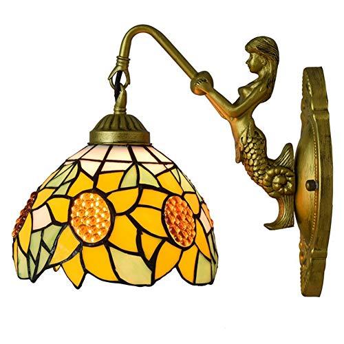 Tiffany Wandlamp, 8 Inch Gebrandschilderd Glas Zon Bloemen Stijl Blaker/Wandlamp Voor Gang Hotel Slaapkamer Woonkamer TNH-123