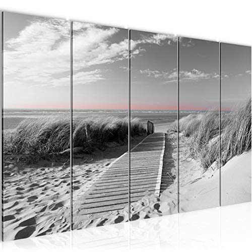 Runa Art Wandbild XXL Strand 200 x 80 cm Schwarz Weiss 5 Teilig - Made in Germany - 604055c