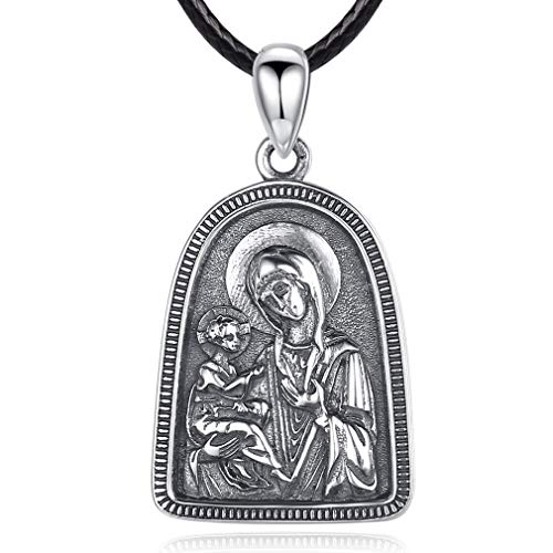 EUDORA Sterling Silver Virgin Mother Mary Saint Christian Jewelry Pendant Necklace - Religious Icon Necklace for Women, Man, Retro Jewelry with 24 inches Cool Black Rope