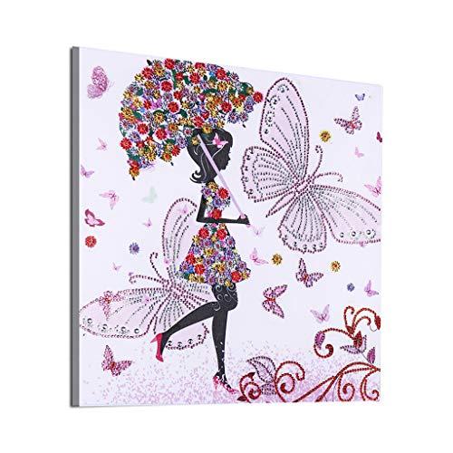 FiedFikt DIY 5D pintura de diamantes, diamantes de imitación de cristal bordado pinturas arte manualidades para la decoración de la pared del hogar, pintura de diamante punto de cruz para mujer H