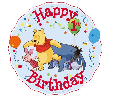 Winnie the Pooh First Birthday Cupcake Toppers Decoration
