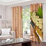 LWXBJX Gardinen Blickdicht für Schlafzimmer Wohnzimmer - Weinmuster - 3D Druckmuster Öse Thermisch isoliert - 300 x 270 cm - 90% Blickdicht Vorhang für Kinder Jungen Mädchen Spielzimmer