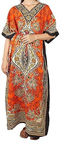 Mohapatra Style Oversized Maxi Kimono Kaftan Tunic Lounge Dresses Suiting Teens to Adult in Regular to Plus Size (Orange)