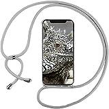 Funda con Cuerda para Xiaomi Mi MAX 3, Carcasa Transparente TPU Suave Silicona Correa Colgante Ajustable Collar Correa de Cuello Cadena Cordón - Gris