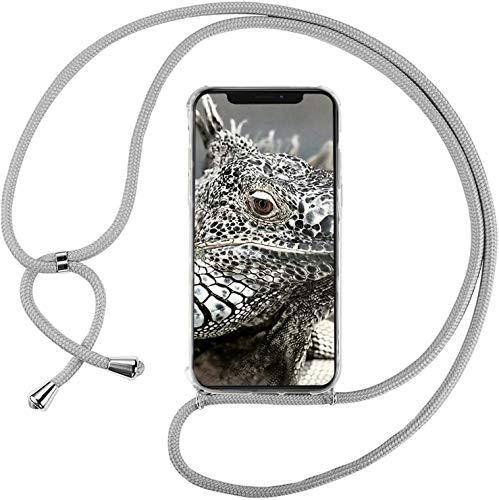 Mi-Case MiCase Funda con Cuerda para Xiaomi Xiaomi Mi MAX 2, Carcasa Transparente TPU Suave Silicona Correa Colgante Ajustable Collar Correa de Cuello Cadena Cordón - Gris