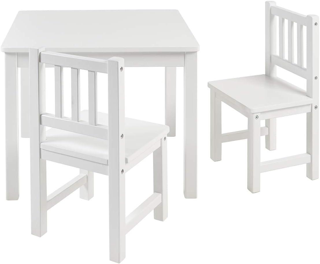BOMI Kindertisch mit 2 Stühlen Amy   abgerundete Ecken und Kanten   aus Kiefer Massiv   Holz sitzgruppe Kind   für Kleinkinder, Mädchen und Jungen…