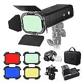 Godox AD200 Pocket Flash Mini TTL Speedlite portátil con 2 Cabezales de luz GN52 GN60 1/8000s HSS Sistema inalámbrico X con Puerta de Granero BD-07 con Rejilla de Panal extraíble 4 filtros de Color