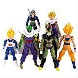 6 Unids / Set Dragon Ball Z Super Saiyan Son Goku Gohan Vegeta Piccolo Trunks Estatuilla Móvil Conjunta PVC Modelo Figura Juguetes 12-17Cm