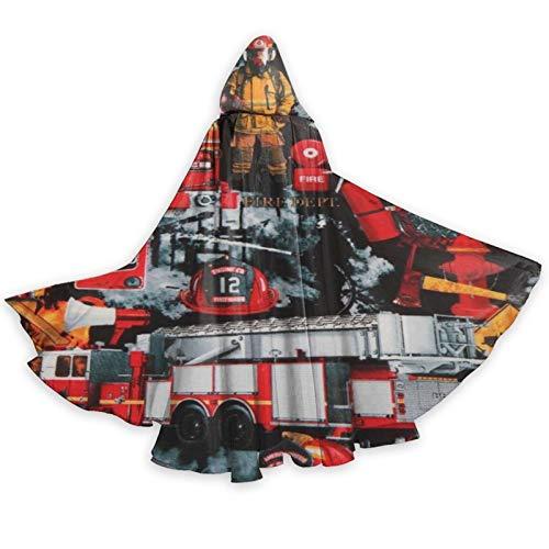 DPQZ - Capa con capucha para Halloween, bomberos, bomberos, bruja, Navidad, adulto, cosplay, fiesta, disfraz