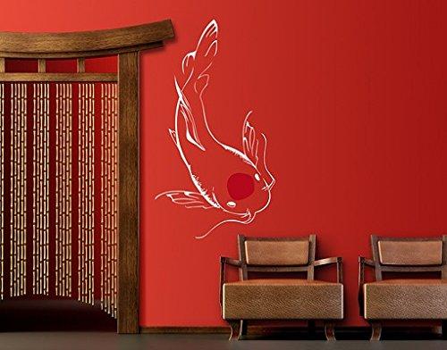Wandtattoo No.SK5 Weißer Koi WandSticker WandTattoo Japan Asien Kunst Tokio