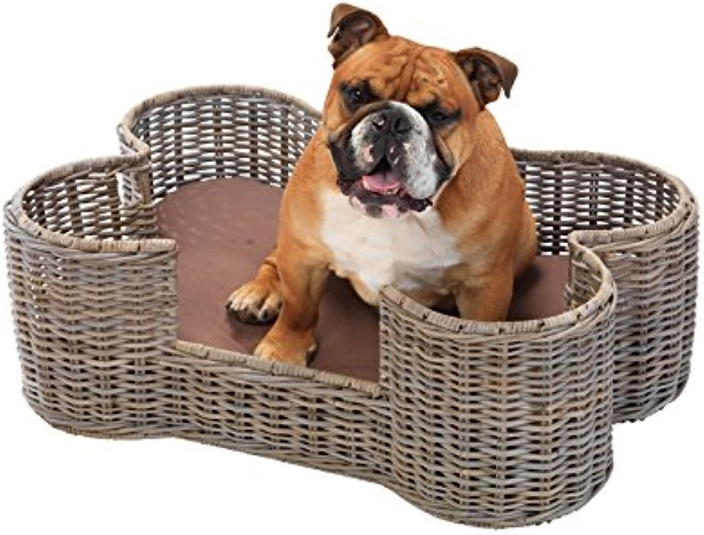 House Of Paws Ratten Kubu Dog Bone Basket, Large, Grey