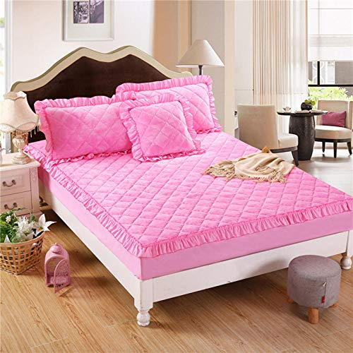 N / A Deep Pocket Mattresses bedsheet,Solid color flannel quilted bed sheet thick warmth non-slip mattress cover single double cover-_pink_200x220cm+28cm