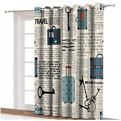 Old Newspaper Decor Window Curtain Retro Style Travel Vacation Theme Vintage Suitcases Keys Dot Text Grommets Panels Printed Curtains ,Single Panel 80x84 inch,for Patio Door Cream Blue Black