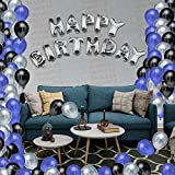 Smartz Minds Happy Birthday Letter Foil Balloon Set of (Silver)+ HD Metallic Balloons