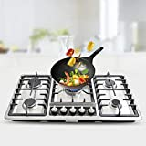 34' 5 Burners Built-In Stove Top Gas Cooktop Kitchen NG Gas Cooker Stainless Steel Fast Cooking Cooktop Thermocouple Protection Easy to Clean