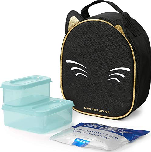 Arctic Zone Animal Shape Lunch Bag with 210gm Ice Pack and 4 Piece Kids Sandwich Set - Kitty, Black