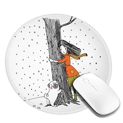 Round Mouse Pad 7.9'X7.9' ,Young Girl And A Cute Little Pug Hugging A Tree Under Snowfall Sweet Winter Season,Working Mouse Mat Gaming Computer