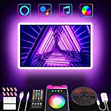 TV LED Backlight Work with Alexa & Google Home, Popotan LED Strip Lights 9.84Ft for 46-55in TV, with Remote + App Control + Controller Box, 16 Million RGB Colors, USB Powered