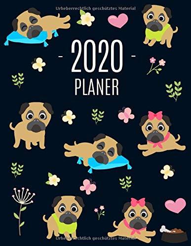 Mops Planer 2020: Wochenplaner 2020 mit Raum für Notizen | Januar - Dezember 2020 mit Wochenansicht | Einfacher Überblick über die Terminpläne | Agenda Organizer Terminplaner