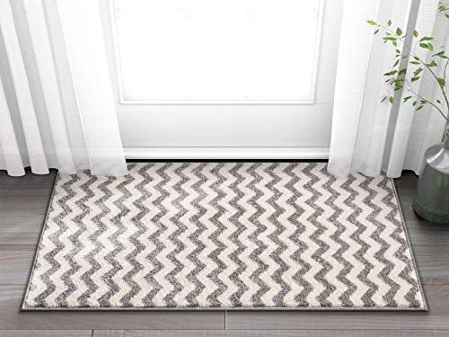 "Wandering Chevron Grey Zig Zag Modern Casual Geometric Area Rug 2x4 ( 2'3"" x 3'11"" ) Easy to Clean Stain Fade Resistant Shed Free Contemporary Abstract Funky Fun Shapes Lines Living Dining Room Rug"