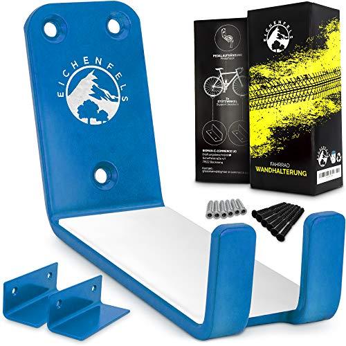 EICHENFels, supporto da parete per bicicletta, per tutti i tipi di bicicletta, materiale di fissaggio fino a 32 kg, certificato TÜV, E-Bike Mountain Bike da corsa (blu)