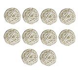 yotijar - 10 bolas de mimbre natural para animales (5 cm), color blanco