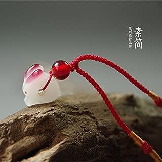 usongs Handmade Japanese-Style high-Temperature Glass Necklace Pendant Transport Safety Rabbit Happy Rabbit Necklace Pendant symbolizes Good Luck