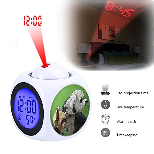 Projection Alarm Clock Wake Up Bedroom with Data and Temperature Display Talking Function, LED Wall/Ceiling Projection,Customize the pattern-225.Friends, Dogs, Pet, Best Friends, Head, Portrait