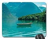 Not Applicable Barco Lago Montañas Vacaciones Noruega Personalizado Personalizado Gaming Mousepad Rectángulo Alfombrilla de ratón/Pad Accesorio de Oficina y diseño de Regalo