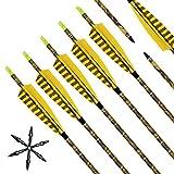 Tiro con arco Flechas y saetas Narchery, 31' pulgadas arcos y flechas para caza o práctica, incluye flechas reemplazos, tres plumas naturales, hecho en Carbono Mixta, Camuflaje (12 pcs)