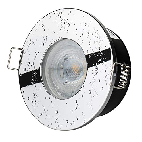 8Watt Bad Einbaustrahler IP65 Chrom DIMMBAR 230V Strahlwassergeschützt 640Lumen 3000Kelvin 60° Dusche Vordach Keller Badezimmer Rostfrei