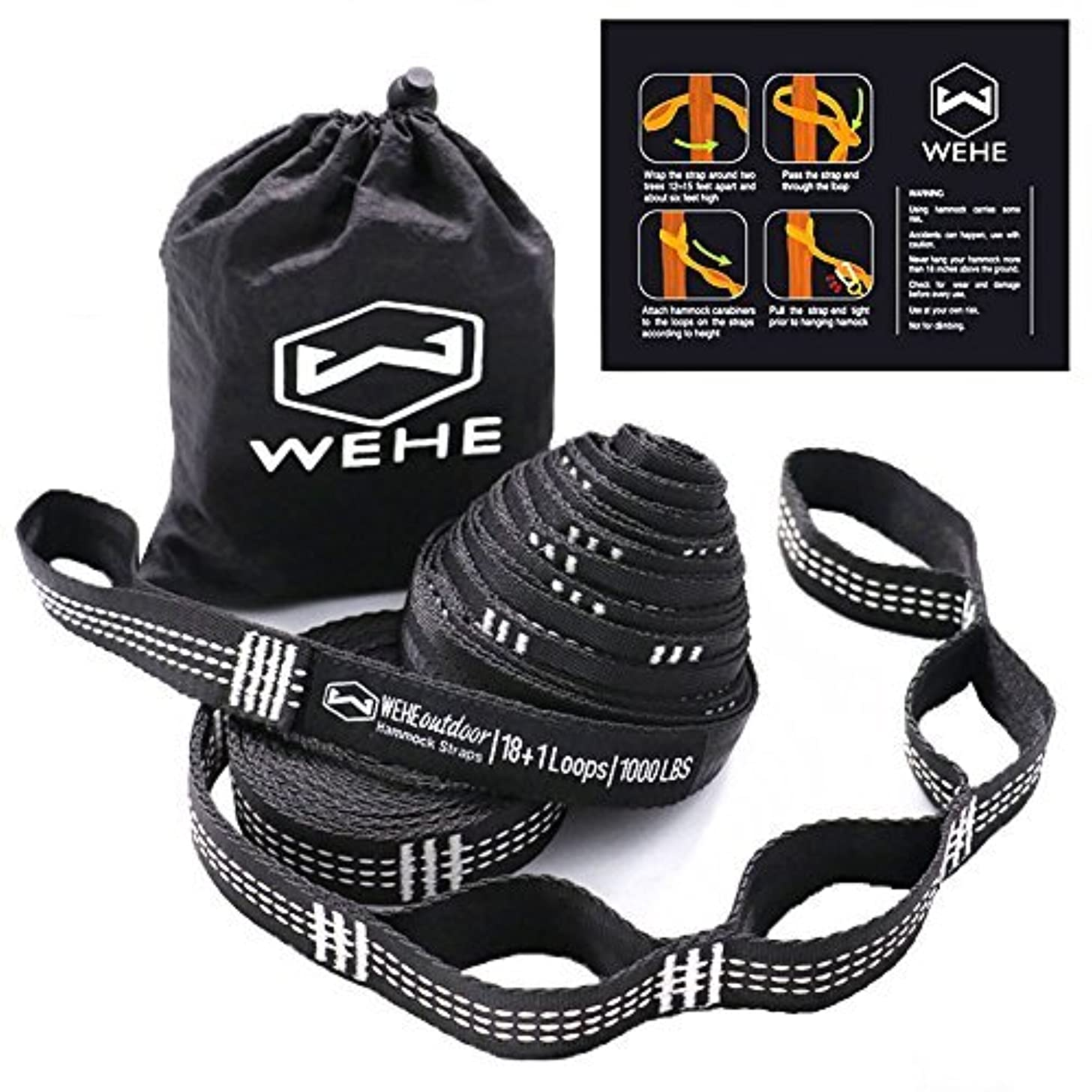 WEHE Hammock Straps Extra Strong & Lightweight,36 Loops, 2000LBS Breaking Strength,100% No Stretch Polyester,Tree Friendly,Quick&Easy Setup Best Suspension System