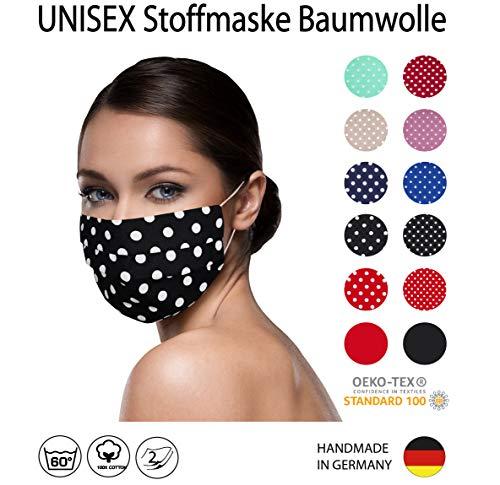 SCHWARZ weiß große PUNKTE Facies unisex, gepunktet, wiederverwendbar 60 Grad waschbar aus Baumwolle 2-lagige Stoff Facies hergestellt in Berlin sofort lieferbar Punkte 7 mm