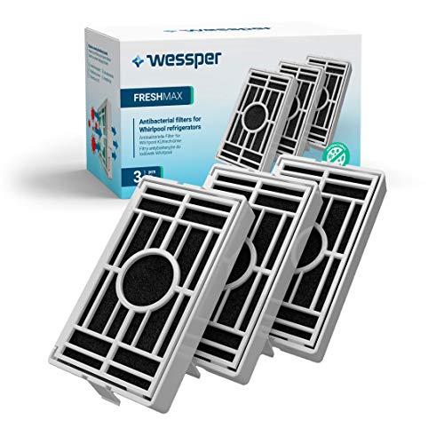Wessper - Paquete de 3 -Filtro antibacteriano para el frigorífico Whirlpool, Indesit, KitchenAid, Hotpoint - compatible con el sistema aire sano Microban ANT001, ANT-001, ANTF-MIC, 481248048172
