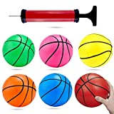 Shindel 6 inches Mini Toy Basketball, 6PCS Basketball for Toddlers, Colorful Kids Mini Toy Basketball Rubber Baketball for Kids, Teenager Basketballs, with Pump