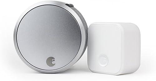 August Smart Lock Pro (3rd Gen) + Connect Hub - Zwave HomeKit & Alexa Compatible - Silver